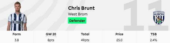 fpl chris brunt gw20 goal