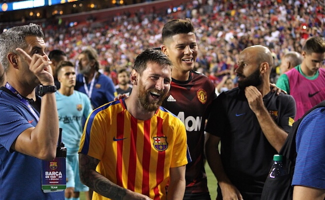 Messi Rojo Laughing Barcelona vs Manchester United