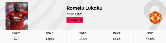 2017-18 gw1 points lukaku captain